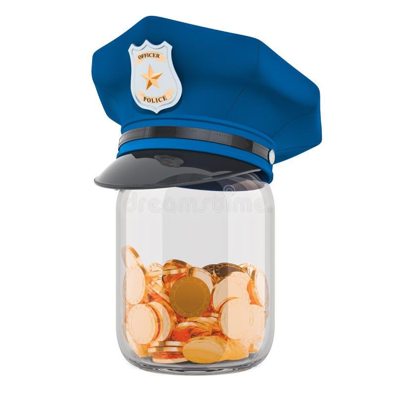 储款金钱或养恤基金的警察的概念 3d回报 皇族释放例证