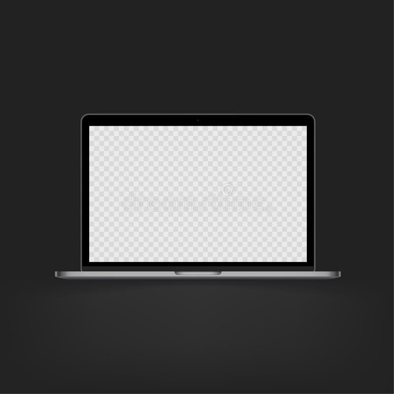 储蓄传染媒介例证现实个人专业计算机,个人计算机,膝上型计算机 透明方格的显示 白色屏幕嘲笑 皇族释放例证