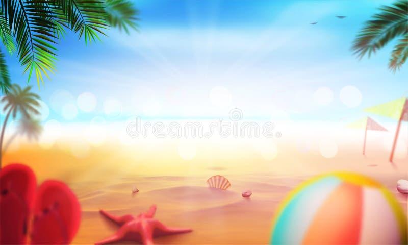 储蓄传染媒介例证现实海滩 夏天和太阳,海 集合,球,海星,壳,棕榈树,海滩拖鞋 艺术为 向量例证