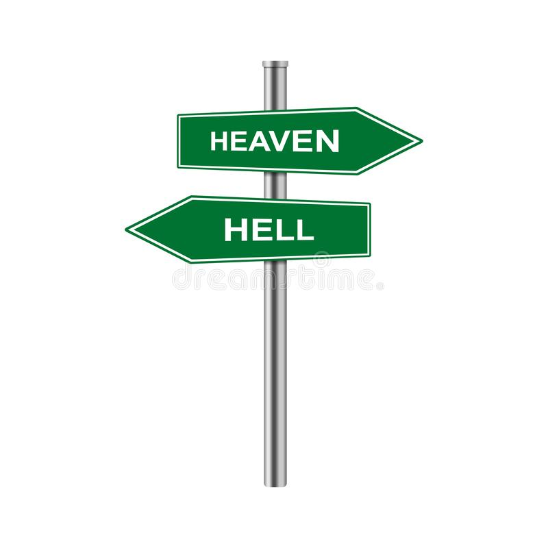 储蓄传染媒介箭头签署天堂和地狱 库存例证