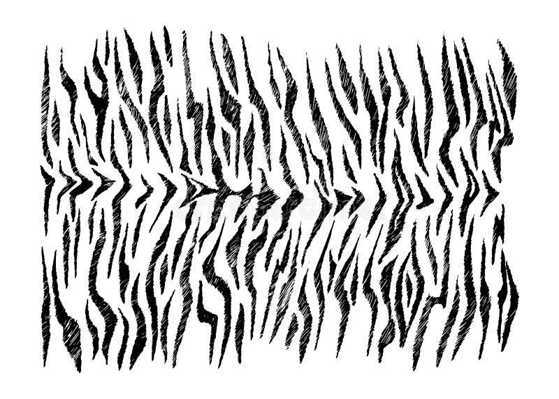 储蓄传染媒介手拉的抽象老虎皮肤模仿 皇族释放例证