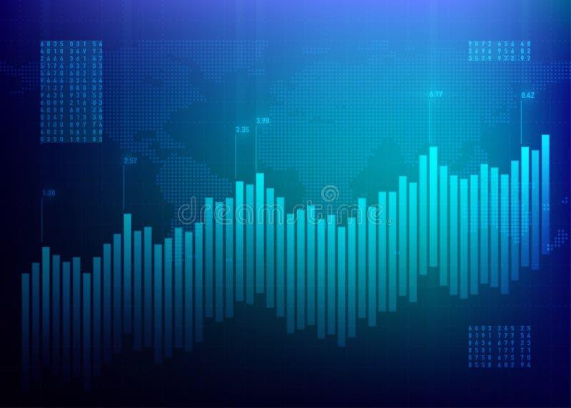 储蓄图表市场 3d图表财务高质量回报 成长企业蓝色传染媒介背景 政券数据网上银行 皇族释放例证