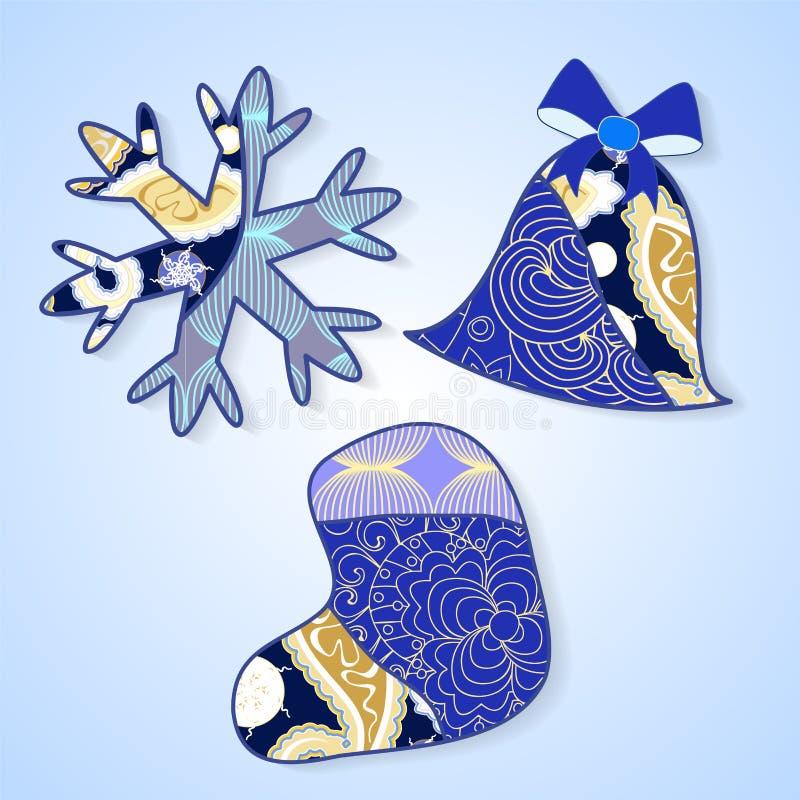 储蓄圣诞节装饰被隔绝的雪花、响铃和s 皇族释放例证