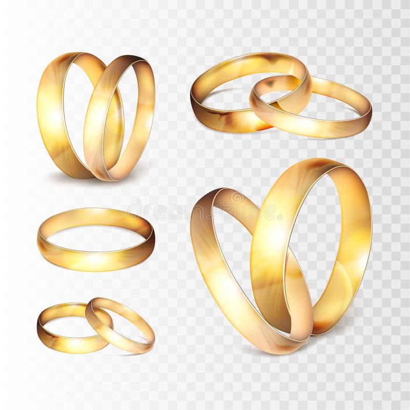 储蓄在透明方格的背景隔绝的传染媒介例证现实金子婚戒集合 EPS10 库存例证