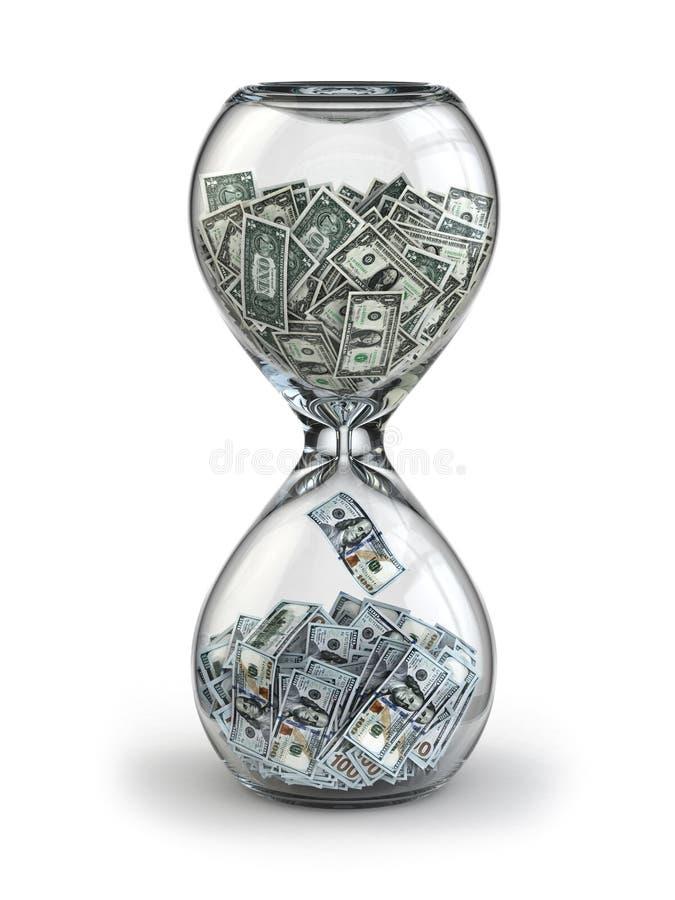 储蓄或投资。美元的成长。滴漏。 皇族释放例证