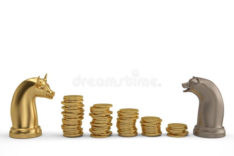 储蓄概念熊和公牛棋子和金币堆 皇族释放例证