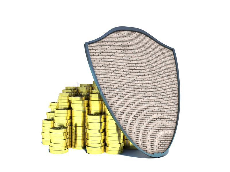 储蓄金钱。金子和盾 向量例证