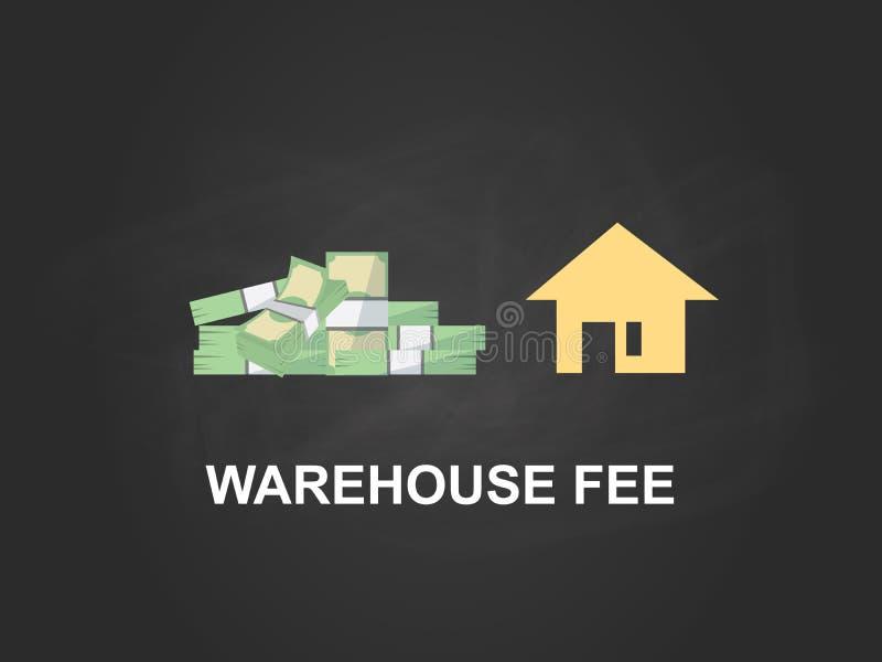 储藏与金钱堆的费白色文本例证和黄色房屋建设象有黑背景 皇族释放例证