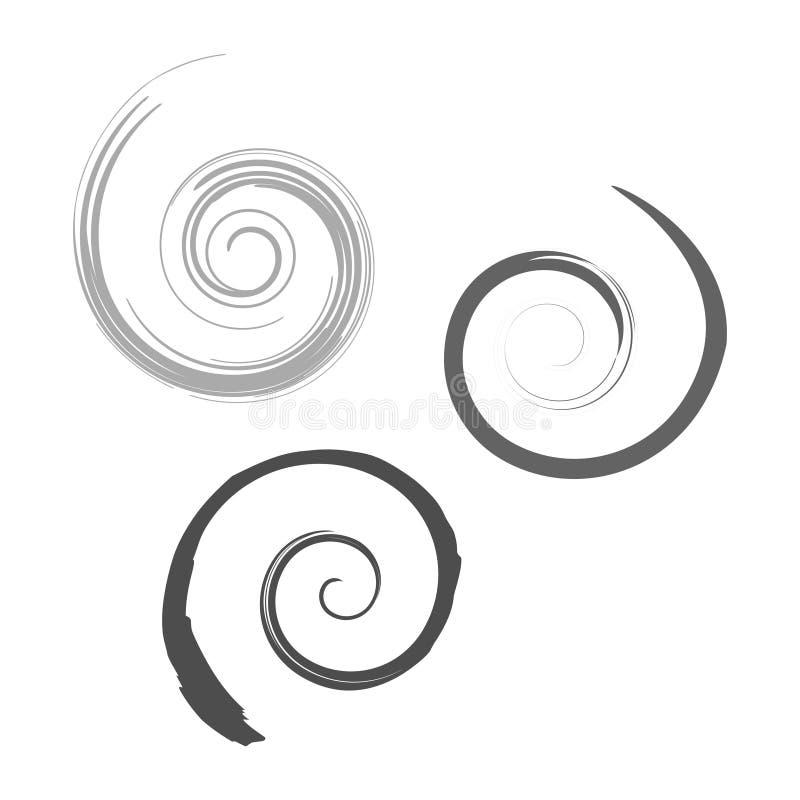催眠螺旋形图标 Abstract set of swirl logo symbol isolated on a white background Vector eps 10 geometric concept 皇族释放例证