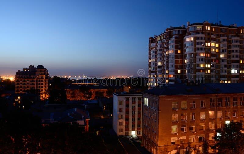 傲德萨市和港口,乌克兰夜视图  库存图片