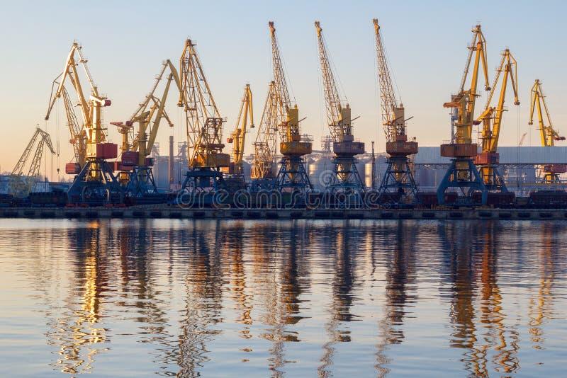 傲德萨,乌克兰- Januadry 02日2017年:容器起重机在货物口岸终端,货物起重机在水中反射了 日落 免版税库存图片