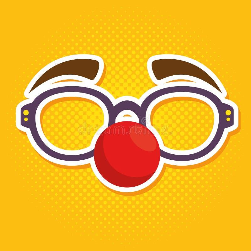 傻瓜与红色鼻子的小丑玻璃 向量例证