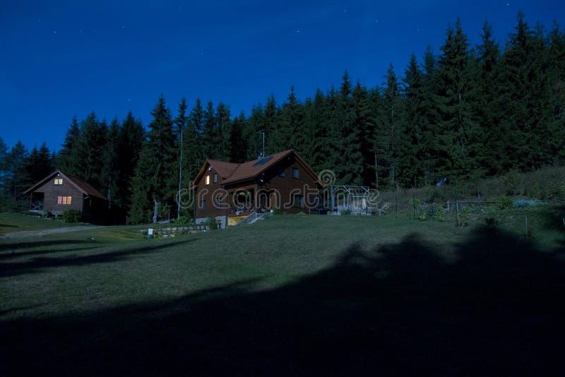傻瓜月亮半夜12点在森林农场 免版税库存图片