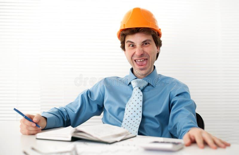 傻的疯狂的工程师 免版税库存图片