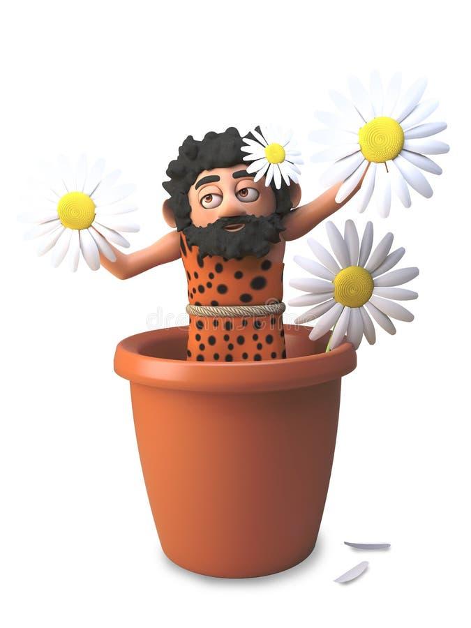 傻的3d穴居人假装是在罐,3d的一朵雏菊花例证 库存例证