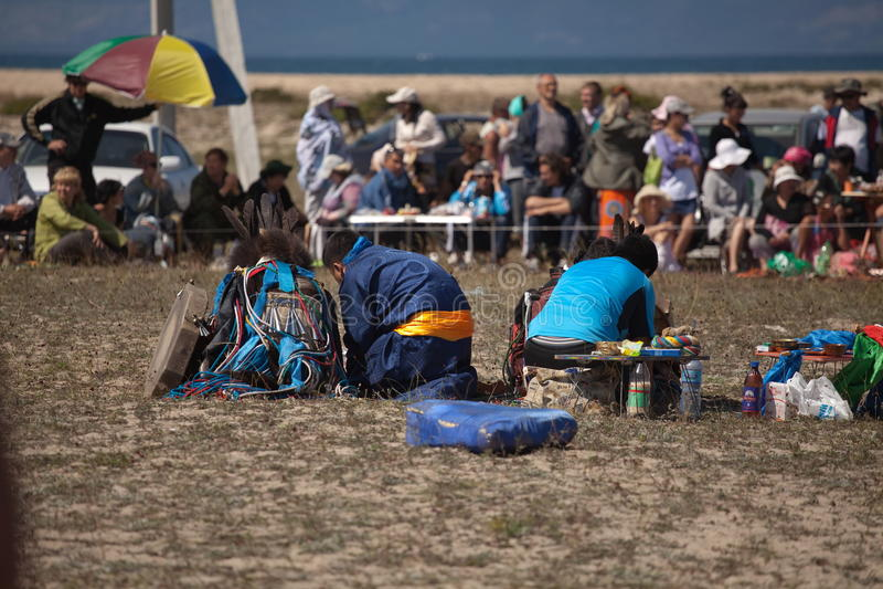 僧人每年国际汇聚贝加尔湖的,奥尔洪岛 图库摄影