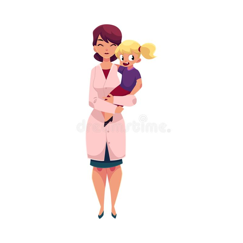 儿科医生医生,拿着小女孩,孩子的 向量例证
