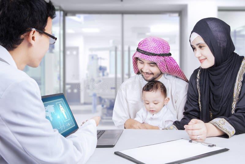 儿科医生和阿拉伯家庭与膝上型计算机 库存图片