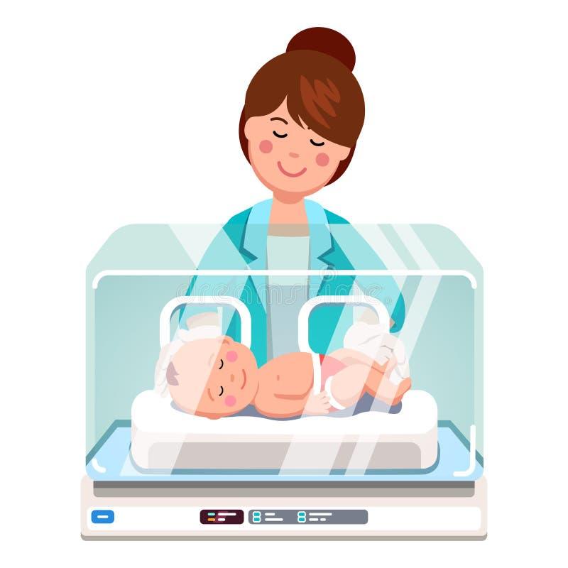 儿科医生审查新出生的婴孩的医生妇女 库存例证