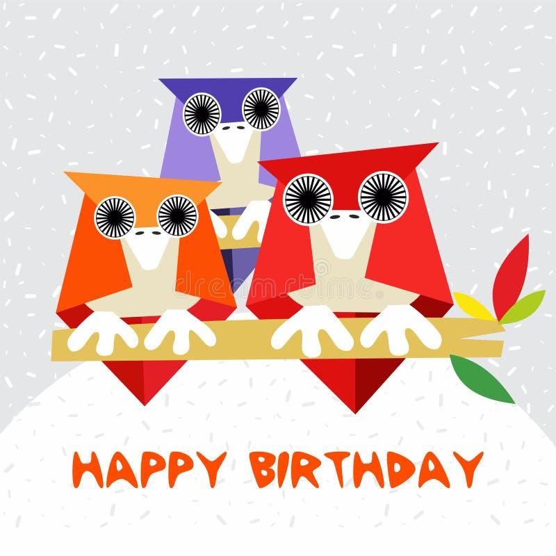 儿童与猫头鹰的生日贺卡冬天定期的传染媒介的 库存例证