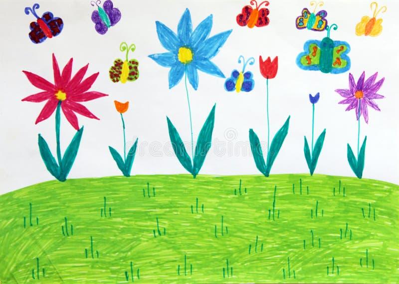 儿童与蝴蝶树和花的` s图画 幼稚图画 皇族释放例证