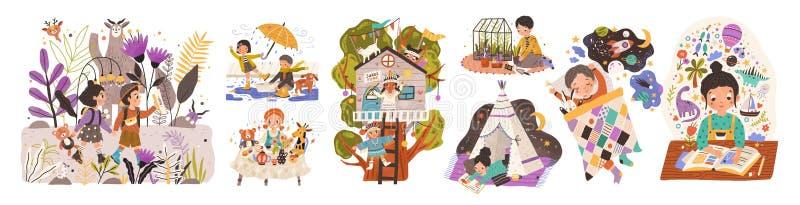 儿童世界平面矢量图插图集 儿童卡通人物玩游戏和幼稚活动 库存例证