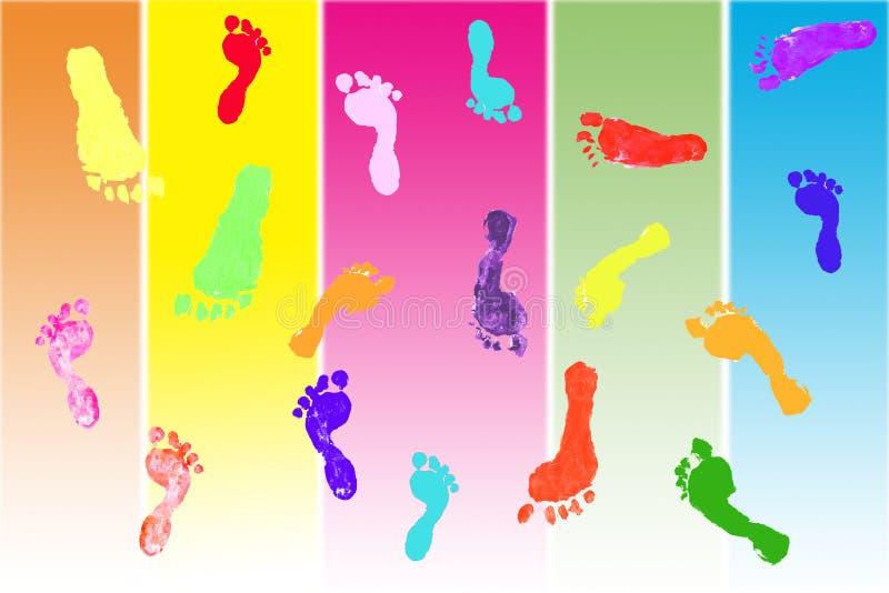 儿童五颜六色的脚印s 向量例证
