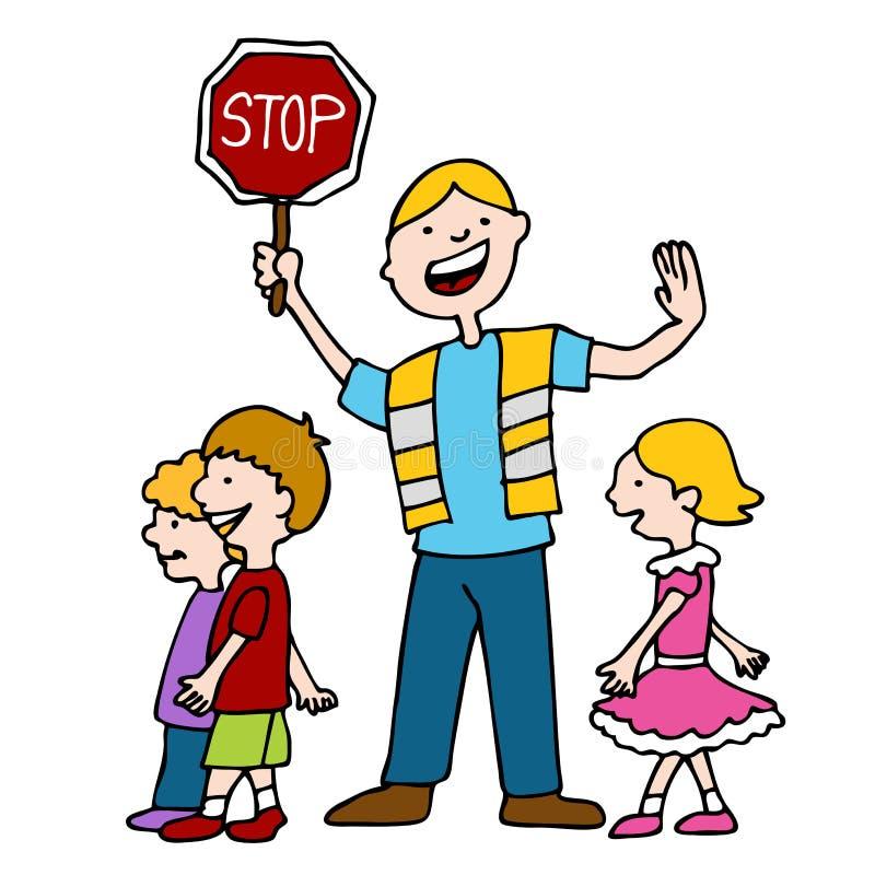 儿童交通指挥员走 库存例证