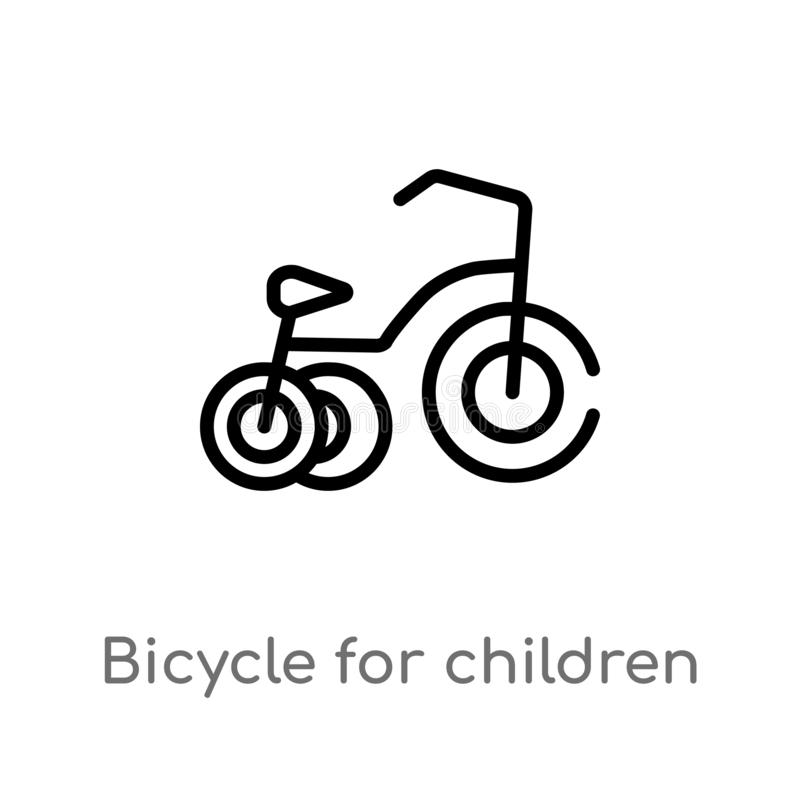 儿童传染媒介象的概述自行车 被隔绝的黑简单的从体育概念的线元例证 E 向量例证