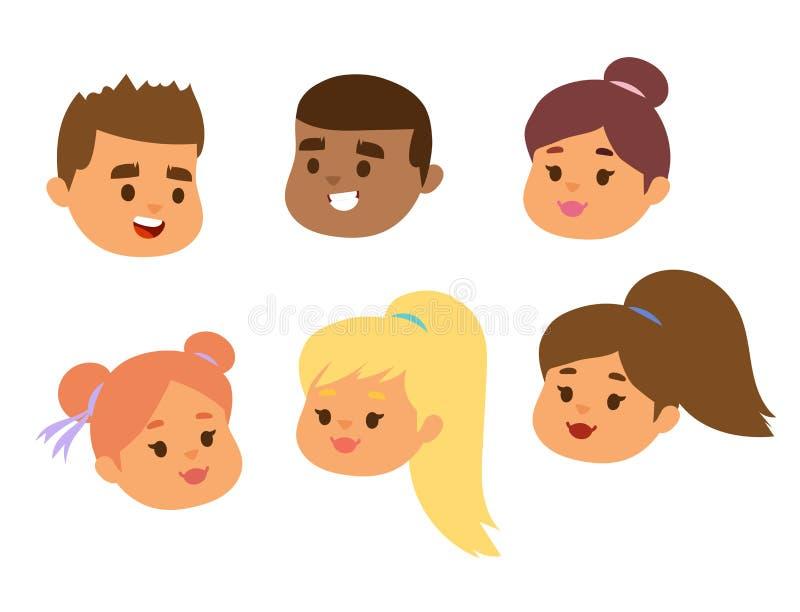 儿童传染媒介面孔画象哄骗字符与发型和动画片人的女孩或男孩面孔有各种各样的肤色的 库存例证