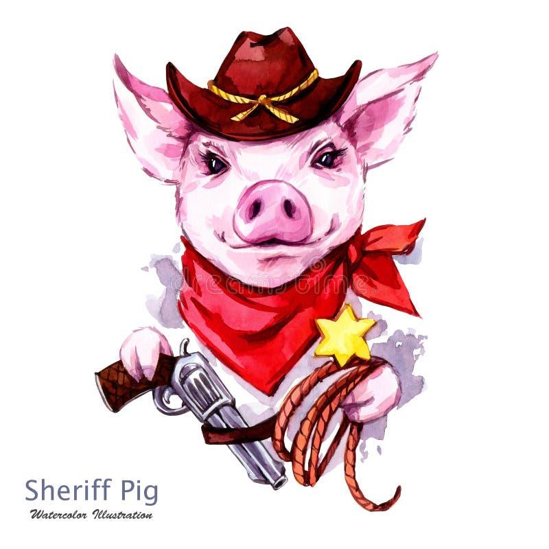 儿童例证 水彩在帽子的警长猪有左轮手枪和套索的 滑稽的牛仔 西部的样式 标志  库存例证
