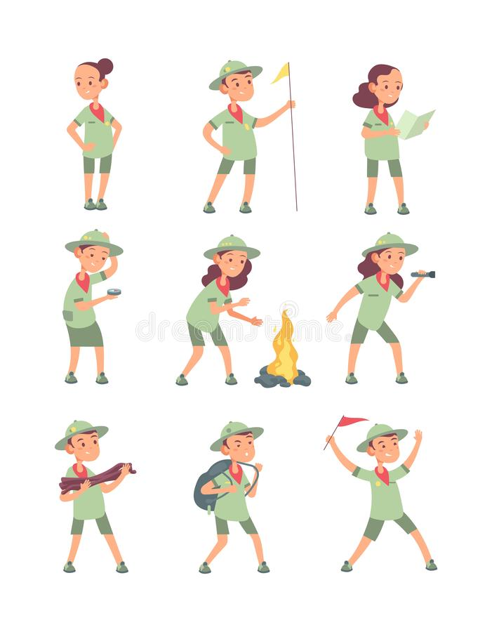 儿童侦察员 在侦察员制服的动画片孩子在夏天野营 滑稽的男孩和女孩旅游传染媒介字符 库存例证