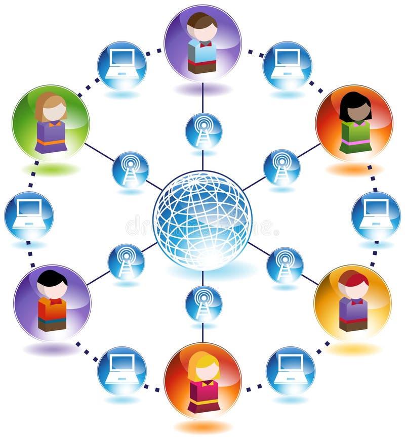 儿童全球网络 库存例证