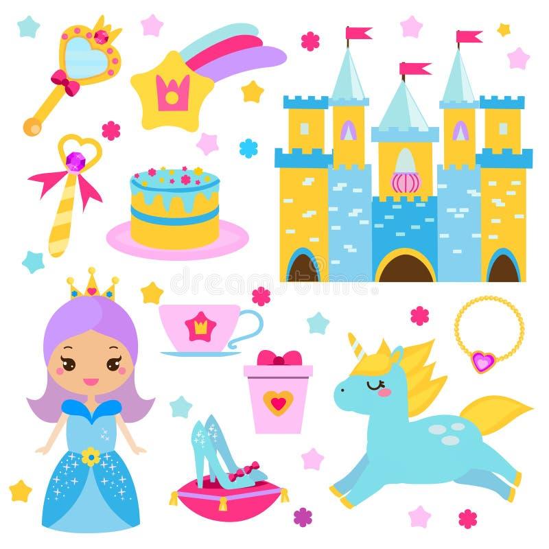儿童公主党设计元素 贴纸,女孩的剪贴美术 独角兽、城堡、鞋子和其他神仙的标志 库存例证