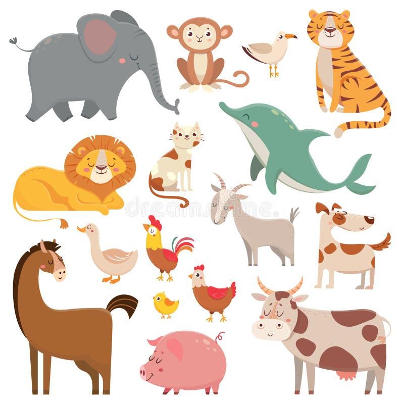 儿童动画片大象,鸥,海豚,野生动物 宠物、农厂和密林动物导航动画片例证汇集 向量例证