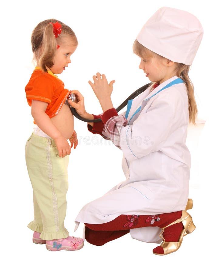 儿童医生护士作用 免版税库存图片