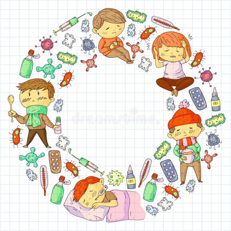 儿童医疗中心 医疗保健例证 与小孩子的乱画象,传染,热病,寒冷,病毒,病症 向量例证