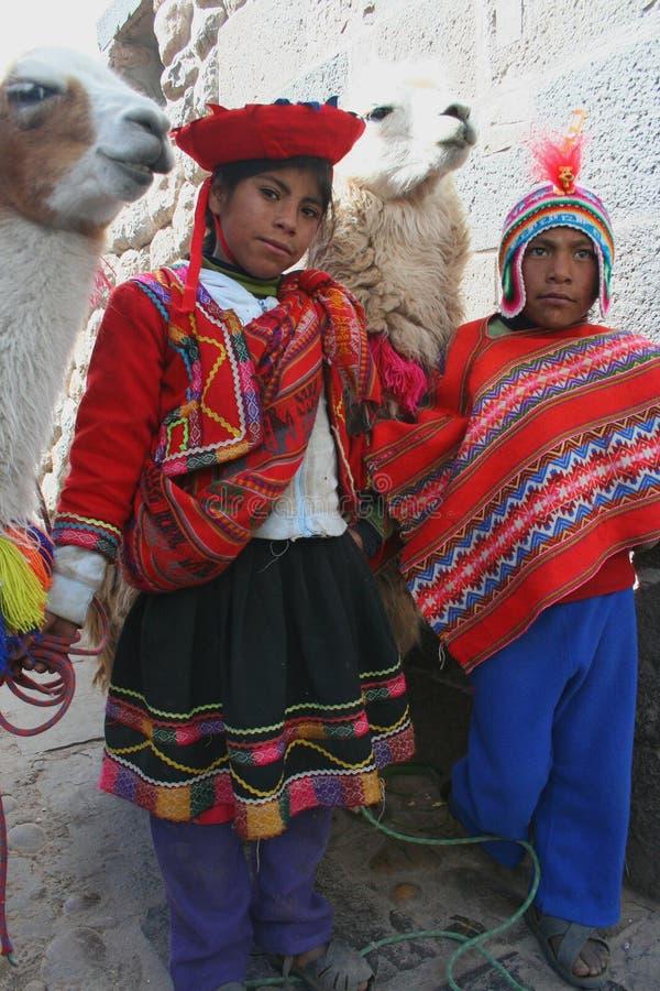儿童印加骆马 免版税库存图片