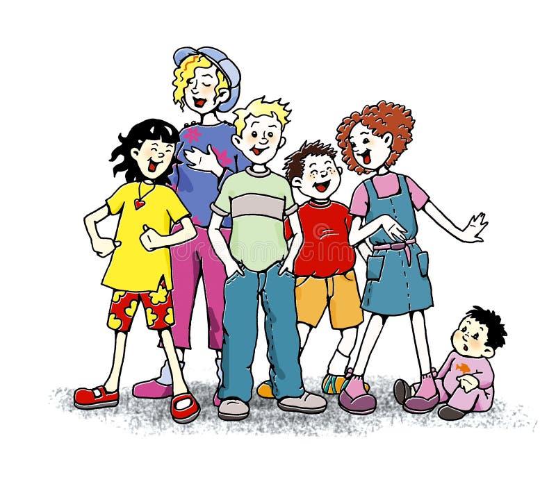儿童唱歌 向量例证