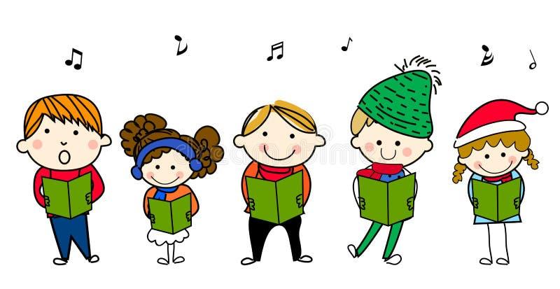儿童唱歌 皇族释放例证