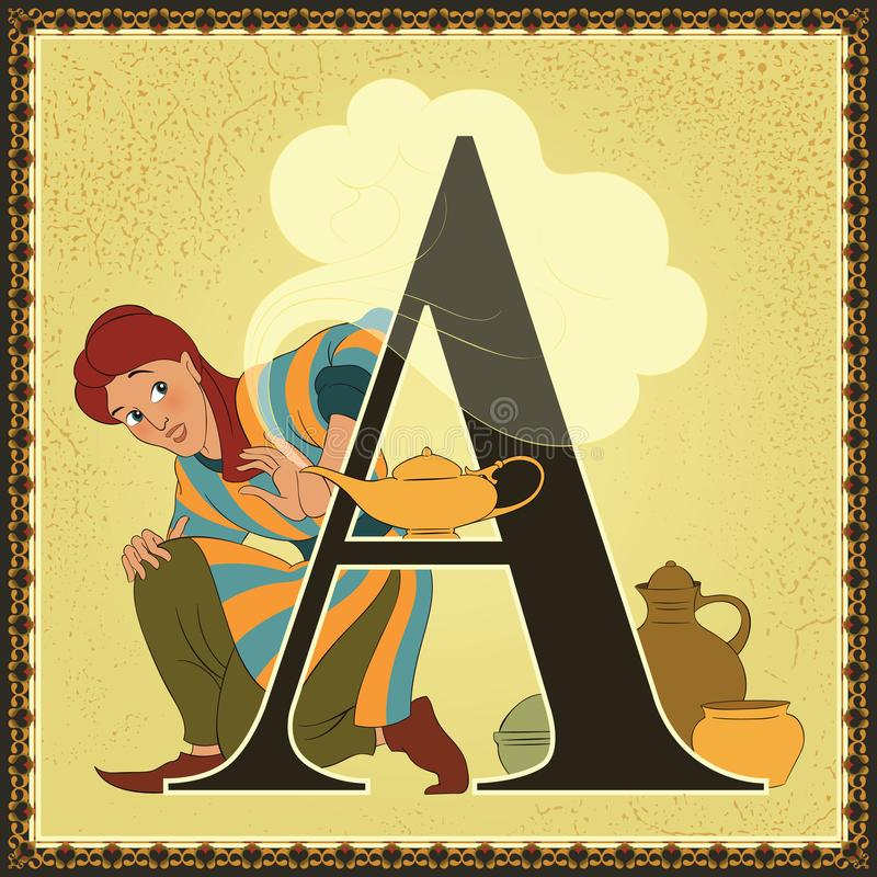 儿童图书动画片童话字母表 在A上写字 美妙aladdin的闪亮指示 阿拉伯之夜 库存例证