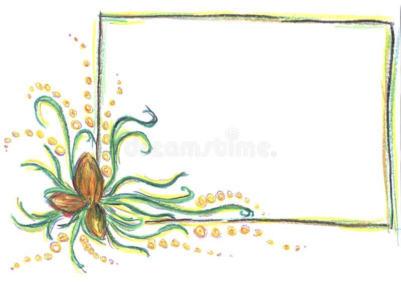 儿童图画,在白色背景的框架,与花的框架,铅笔图,颜色图画,抽象铅笔图 图库摄影