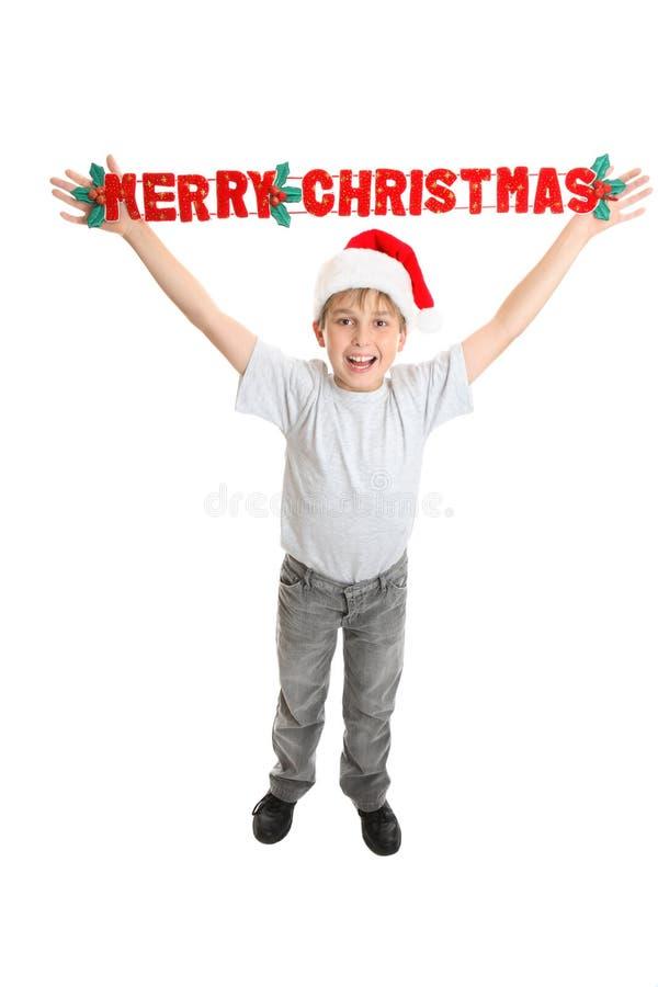 儿童圣诞节快活的消息 免版税库存照片