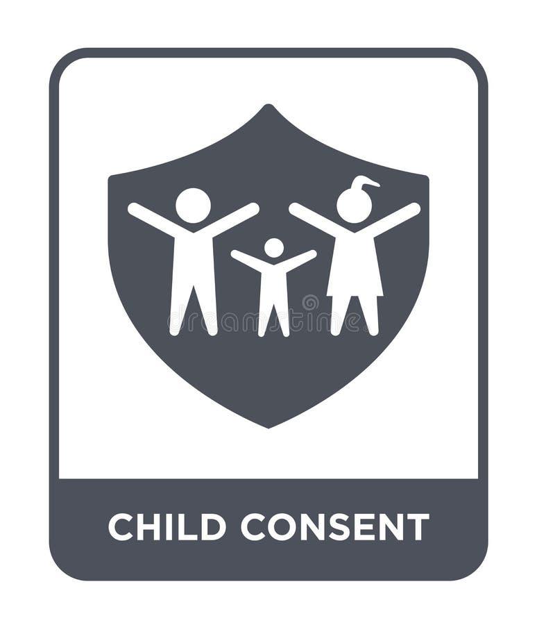 儿童在时髦设计样式的同意象 儿童在白色背景隔绝的同意象 儿童同意简单传染媒介的象和 皇族释放例证