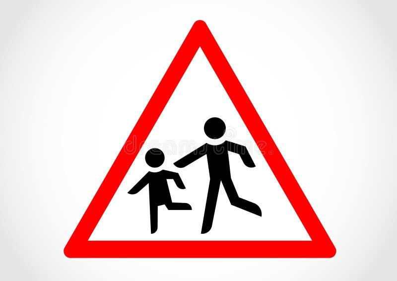 儿童奔跑横穿信息路标 库存例证