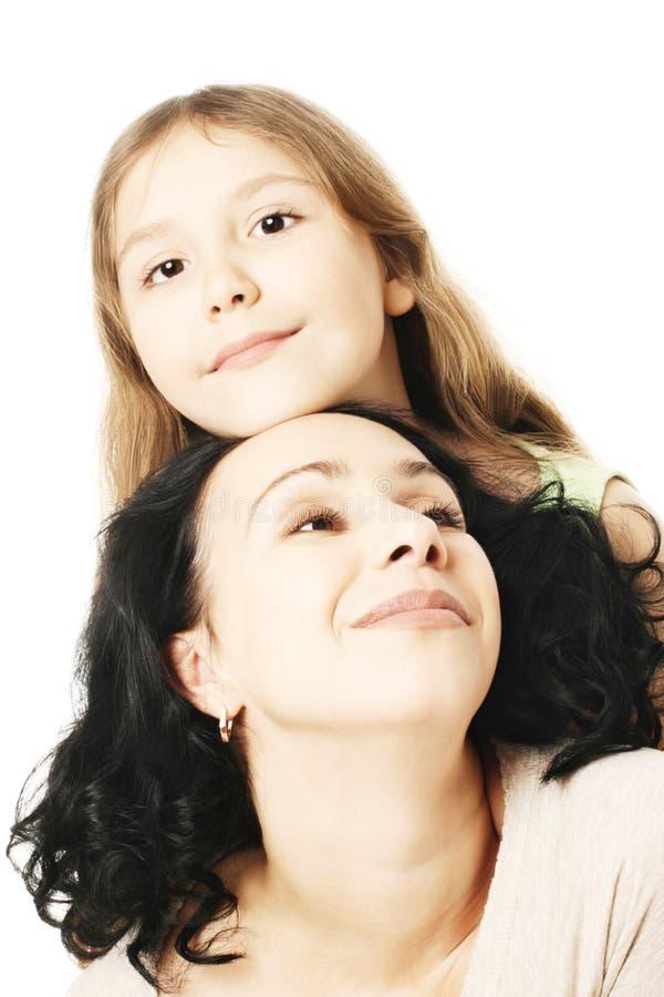儿童女孩和母亲使用 免版税库存照片