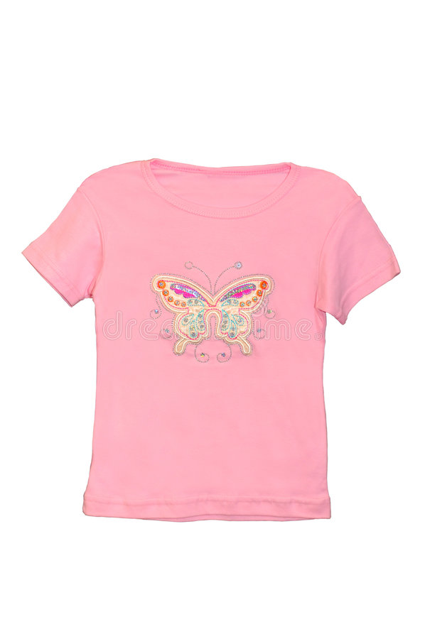 儿童女孩查出的桃红色衬衣t 免版税库存图片