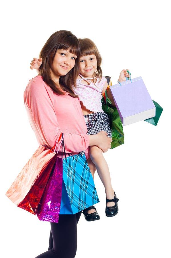 儿童女孩购物 库存照片
