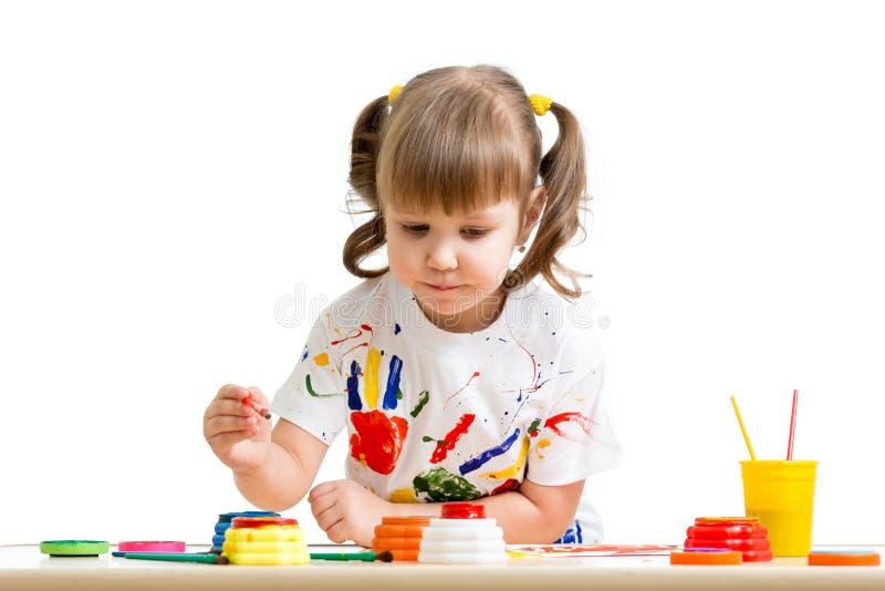 儿童女孩绘画 库存照片