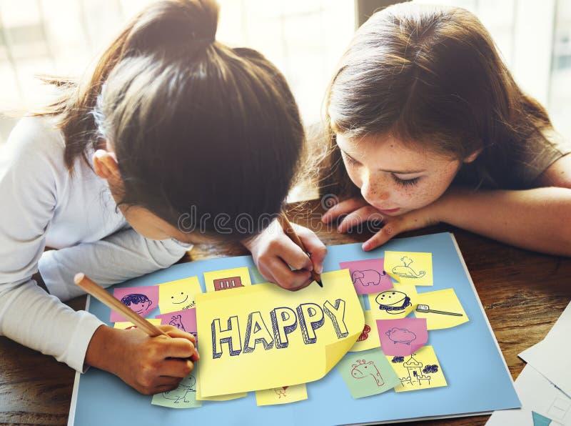 儿童嬉戏的幸福享受童年概念 库存照片
